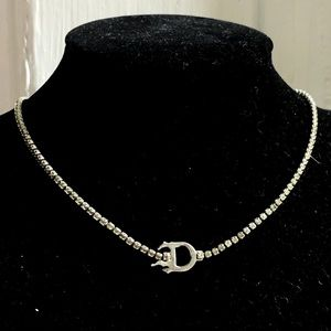 Dior Swarovski Crystal 'D' Flame Choker Necklace